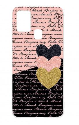 Cover TPU Samsung Galaxy A21s - Scritte e Cuori rosa nero