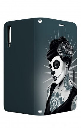 Cover STAND Samsung A7 2018 - Calavera bianco e nero