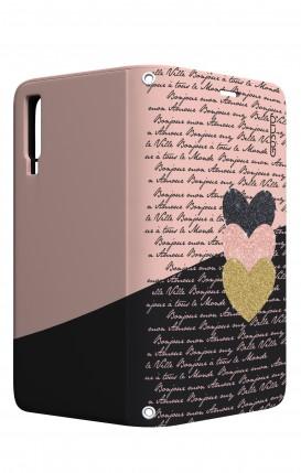 Cover STAND Samsung A7 2018 - Scritte e Cuori rosa nero