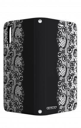 Case STAND VStyle Samsung A7 2018 - Pizzo bianco e nero