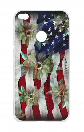 Cover HUAWEI P8 Lite (2017) - Bandiera americana e fiori