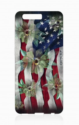 Cover HUAWEI P10 - Bandiera americana e fiori