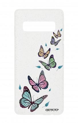 Cover Glitter Soft Samsung S10 - Farfalle e foglie trasparente