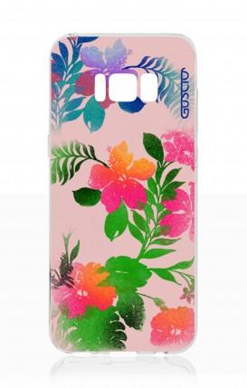 Cover Samsung S8 - Fiori fondo rosa