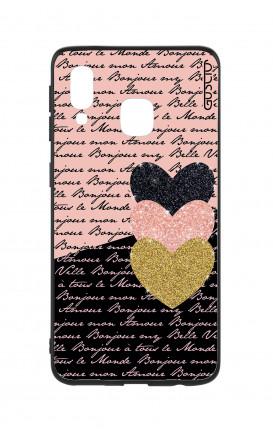 Cover Bicomponente Samsung A20e - Scritte e Cuori rosa nero