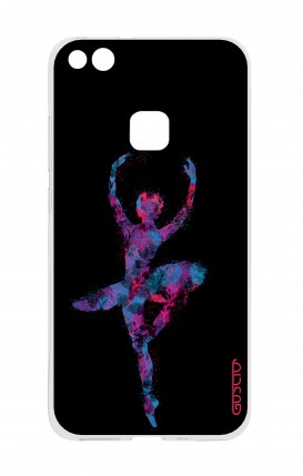 Cover Huawei P10 Lite - Ballerina fondo nero