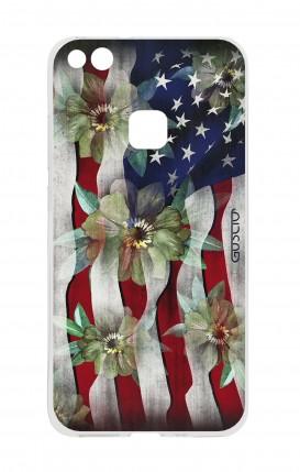 Cover Huawei P10 Lite - Bandiera americana e fiori