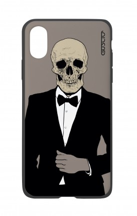 Apple iPh XS MAX WHT Two-Component Cover - Tuxedo Skull