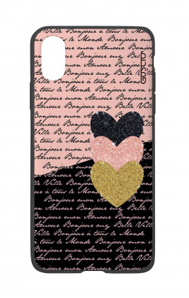 Apple iPh XS MAX WHT Two-Component Cover - Hearts on words