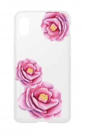 Cover Apple iPhone XR Diamonds - Peonie trasparenti