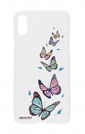 Cover GLITTER SOFT Apple iPhone XR TRS - Farfalle e foglie trasparente