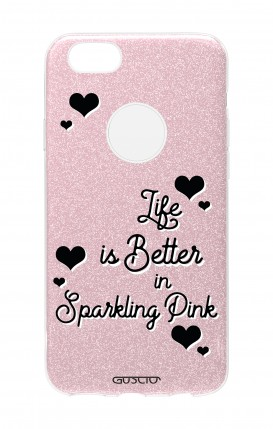 Cover GLITTER Apple iPhone 7Plus PNK - Life is Better in sparkling