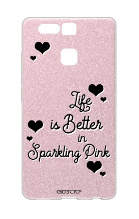 Cover GLITTER Huawei P9 PNK - Life is Better in sparkling