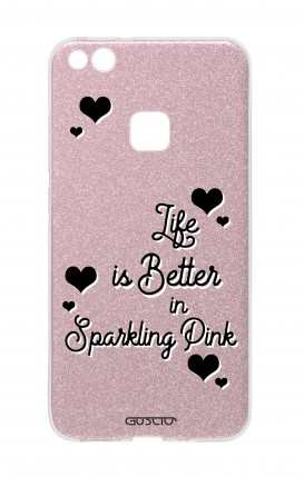 Cover GLITTER Huawei P10Lite PNK - Life is Better in sparkling