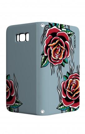 Cover STAND Samsung S8 - Rose Tattoo su azzurro