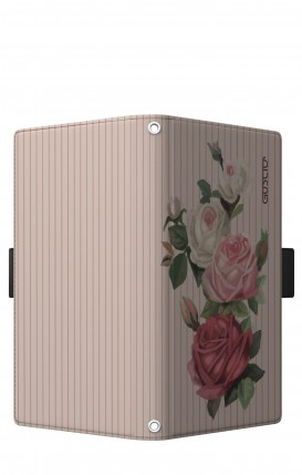 "Cover Universal Casebook LARGE/SHORT for 5.2""-5.8"" display - Rose e righe"