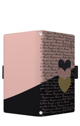 Cover Universal Casebook size5 - Scritte e Cuori rosa nero