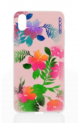 Cover Apple iPhone X/XS - Fiori fondo rosa