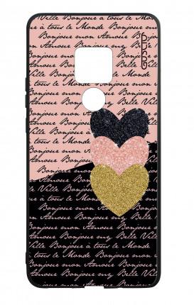 Cover Bicomponente Huawei Mate 20 - Scritte e Cuori rosa nero