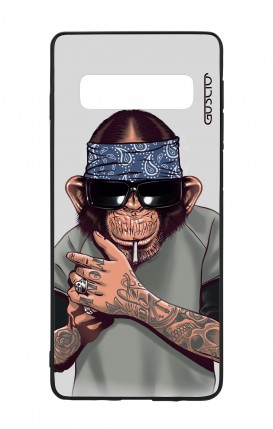 Samsung S10 WHT Two-Component Cover - Chimp with bandana