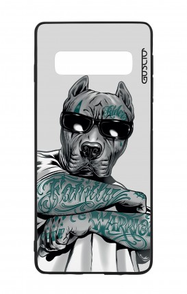 Samsung S10 WHT Two-Component Cover - Tattooed Pitbull