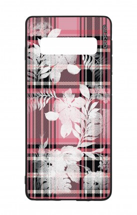 Samsung S10 WHT Two-Component Cover - Flowers on pink tartan