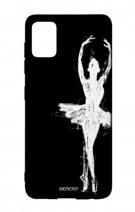 Cover Bicomponente Samsung A51 - Ballerina su nero