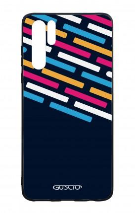 Cover Bicomponente Huawei P30PRO - Righe su fondo Blu