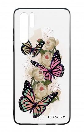 Cover Bicomponente Huawei P30PRO - Farfalle su bianco