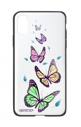 Apple iPhone X White Two-Component Cover - WHT Butterflies&Leaves