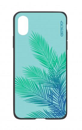 Cover Bicomponente Apple iPhone X/XS - Foglie azzurre