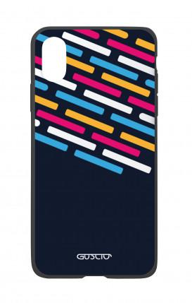 Cover Bicomponente Apple iPhone X/XS - Righe su fondo Blu