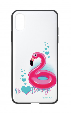 Apple iPhone X White Two-Component Cover - We Love Flamingo