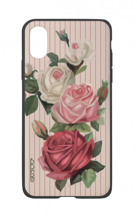Cover Bicomponente Apple iPhone X/XS  - Rose e righe