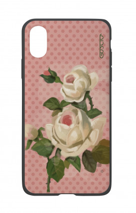 Apple iPhone X White Two-Component Cover - Polka Dot and roses