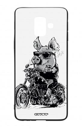 Cover Bicomponente Samsung A6 WHT - Maiale biker