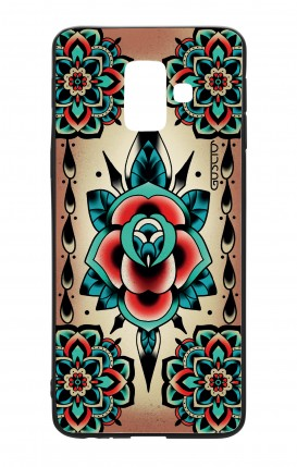 Cover Bicomponente Samsung A6 WHT - Old school tattoo rose