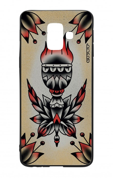 Samsung A6 WHT Two-Component Cover - Old School Tattoo Flame