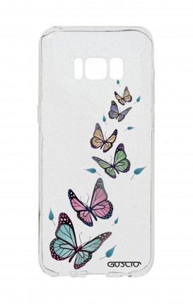 Cover GLITTER SOFT Sam S8Plus - Transparent Butterfly & Leaves