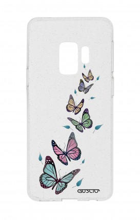 Cover GLITTER SOFT Sam S9Plus - Transparent Butterfly & Leaves