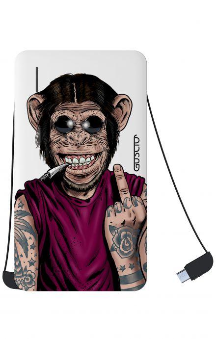 Power Bank 5000mAh iOs+Android - Scimmia è sempre felice bianco