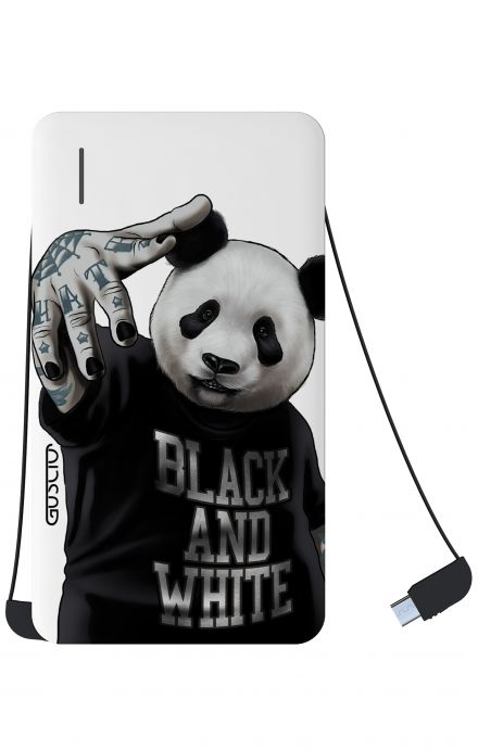 Power Bank 5000mAh iOs+Android - Panda b&w bianco