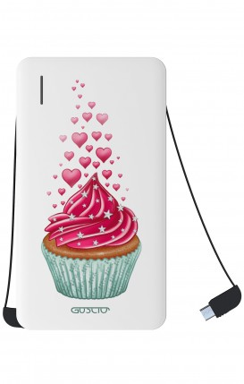 Power Bank 5000mAh iOs+Android - WHT Cupcake in Love