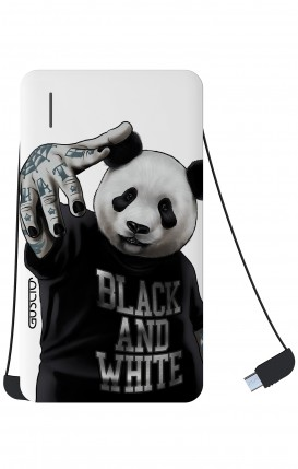 Power Bank 5000mAh Type-C+Android - Panda b&w bianco