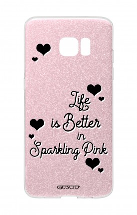 Cover GLITTER Samsung S7Edge PNK - Life is Better in sparkling