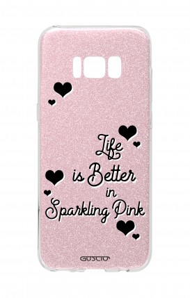 Cover GLITTER Samsung S8 PNK - Life is Better in sparkling