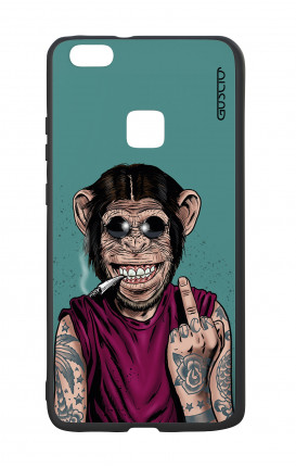 Huawei P9Lite White Two-Component Cover - Monkey's always Happy