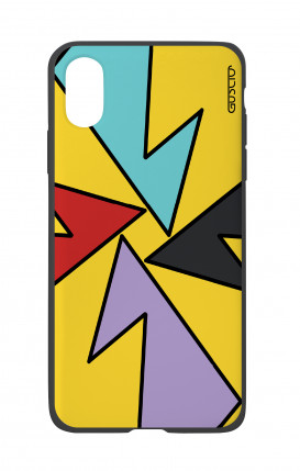 Apple iPhone X White Two-Component Cover - Yellow Abstract with shapes