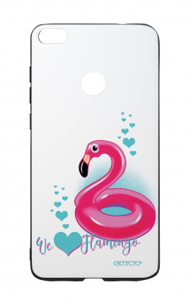 Huawei P8Lite 2017 White Two-Component Cover - We Love Flamingo