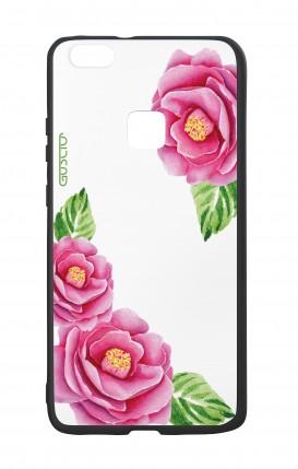 Cover Bicomponente Huawei P10Lite - Peonie trasparenti